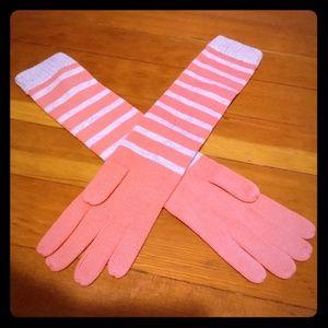 Banana Republic elbow-le gth knit striped gloves